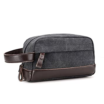 1efc0279c453 CACASO Men Toiletry Bag Wash Bag Hanging Toiletry Bag Leather Canvas 3  Compartments Zipper Men Shaving