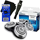 Philips Norelco RQ12+ Series 8000 (12__X) & Arcitec (10__X) Electric Razor Replacement Heads + Double Ended Shaver Brush + HeroFiber Ultra Gentle Cleaning Cloth