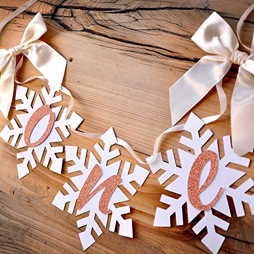 Winter Onederland Snowflake Highchair Banner in Ivory and Rose Gold. One High Chair Banner. First Birthday Highchair Banner. -