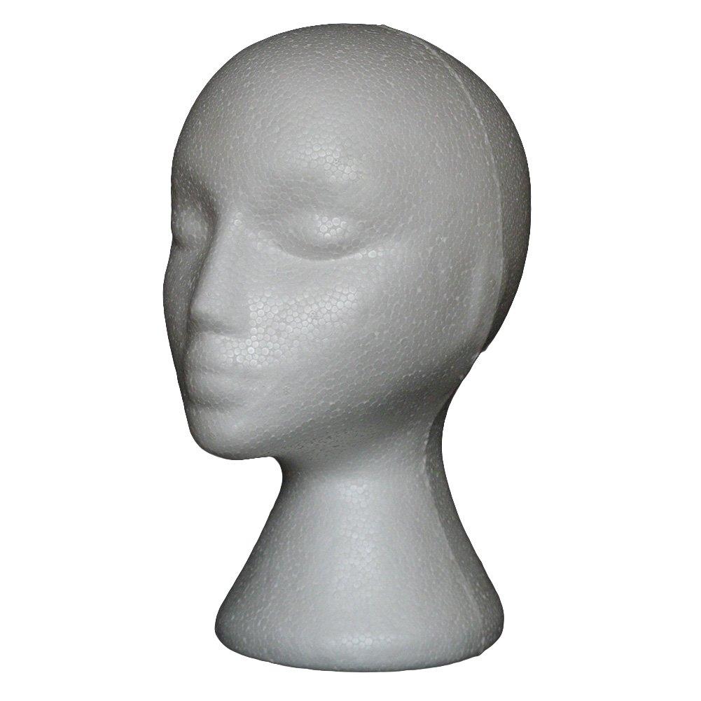 spirworc hlan Modelo cabeza, hembra, De Espuma, cabeza de porexpán Gafas Soporte, soporte para pelucas, cascos, gorras (Blanco, 1pieza) SpirWoRchlan