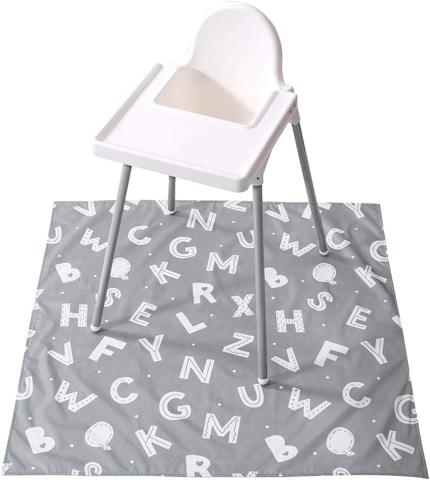 Baby Splat Mat for Under High Chair, Winthome Washable Large Floor Mat, Antislip Waterproof Baby Splash Mat for Dropping Food/Feeding, Arts/Crafts (Alphabet)