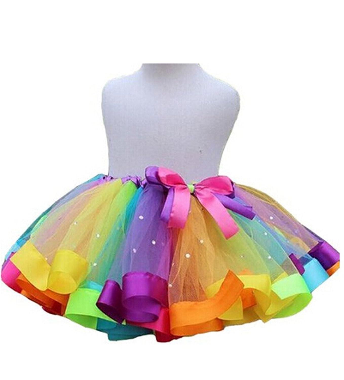 A AURAR Girls Layered Rainbow Tutu Dance Skirt Rave Party Ballet Ruffle Tiered Clubwear Amazoncouk Clothing