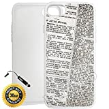 Custom iPhone 7 PLUS Case (Old Newspaper Art) Edge-to-Edge Rubber White Cover with Shock and Scratch Protection | Lightweight, Ultra-Slim | Includes Stylus Pen by Innosub