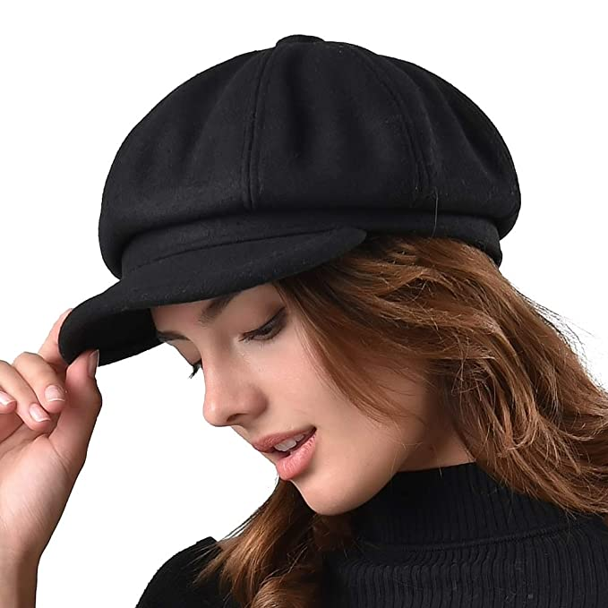 FURTALK Women s Newsboy Cap Paperboy Hat Winter Wool Beret Hat Cabbie  Fiddler Hat Black 9dd4b6593427