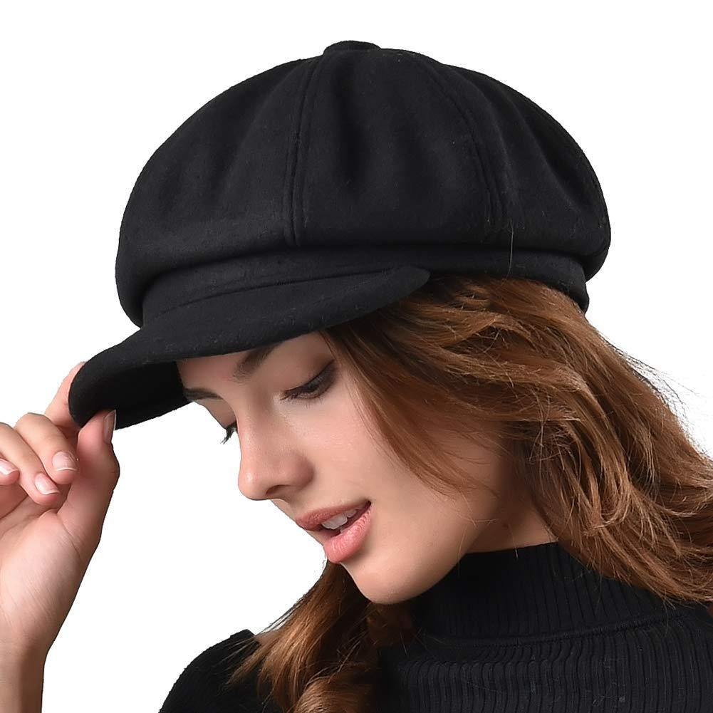 Amazon.com: FURTALK Women's Newsboy Cap Paperboy Hat Winter Wool Beret Hat  Cabbie Fiddler Hat (Medium, Black1) (0706611652750): Books