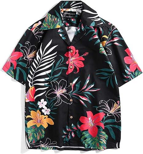 ALMRKS Ocio Camisa de Vacaciones Tendencia, Verano Viaje al Aire Libre Familia Jugar Pareja Camisas Camisa con Estampado Vegetal: Amazon.es: Deportes y aire libre