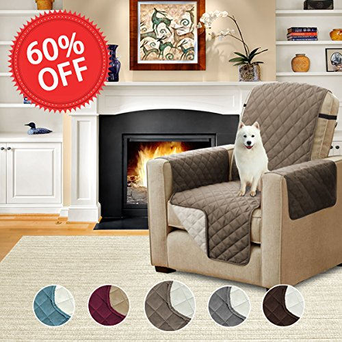 Protective Chair Covers (H.Versailtex Quilted Quick Drape Reversible Furniture Cover / Pet Friendly Protector for Sofa with Adjustable Straps (Recliner: Taupe/Beige)-79 x 68 - Inch)