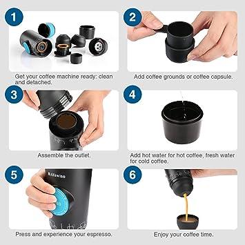 Amazon.com: Afawise Mini espresso maker, Electric Portable Espresso, Upgraded Travel Espresso Machine, Automatic Coffee Maker Compatible with Ground Coffee ...