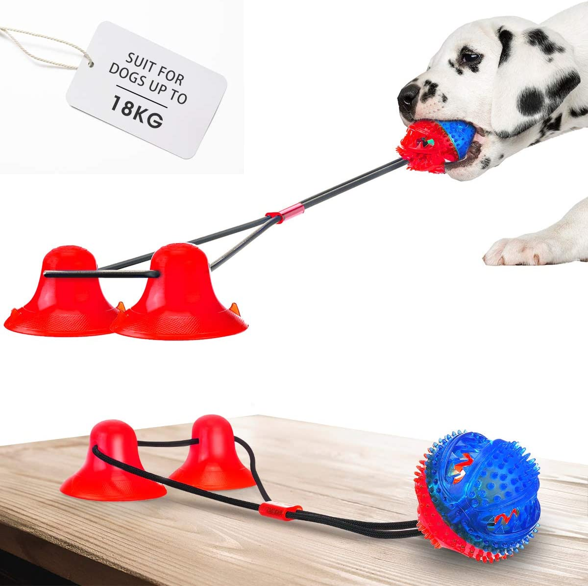 Durable Dog Tug Rope Ball Toy with Suction Cup Demlor Pets Multifunction Pet Molar Bite Toy Chewing Pulling Tugging Playing.