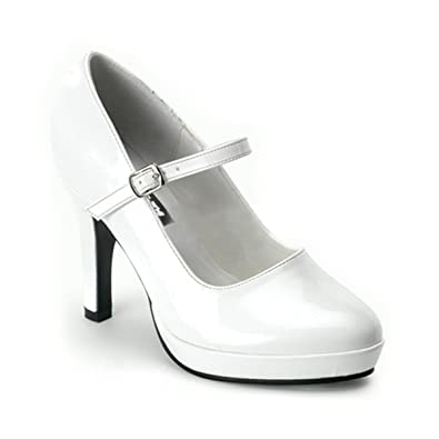 Amazon.com | 4 Inch Heel Mini Platform Sexy Mary Jane Pumps White ...