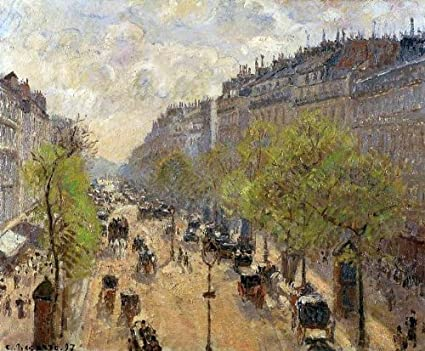 Oil Painting Art Reproduction Boulevard Montmartre Spring by Camille Pissarro