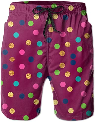 PIN Lightweight Quick Dry Colored Squares Beach Shorts Swim Trunks Beach Pants