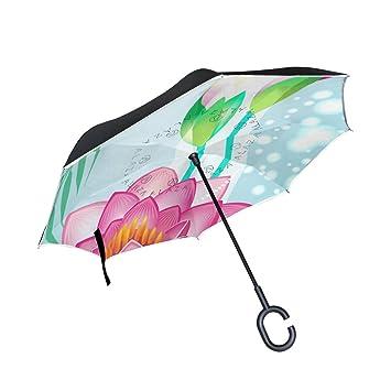 BENNIGIRY Paraguas Reversible Plegable de Doble Capa con Diseño de libélula de Loto, Protección UV