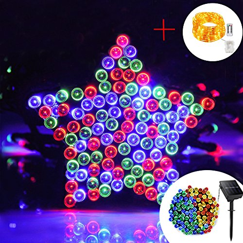 Solar Outdoor String Lights, 200 LEDs 8 Lighting Modes Waterproof Ball Fairy String lights for Garden, Patio, Christmas, Halloween, Wedding Party