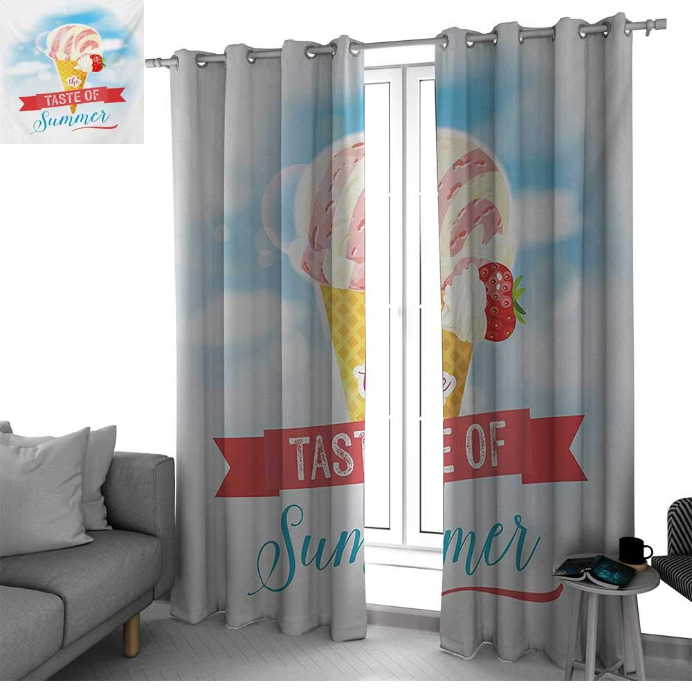 bybyhome Ice Cream Curtains for Bedroom/Living Room Curtain The Taste of Summer Quote with Cone and Strawberry Clouds Inspirational Print Drapes Panels Multicolor W84 x L84 Inch