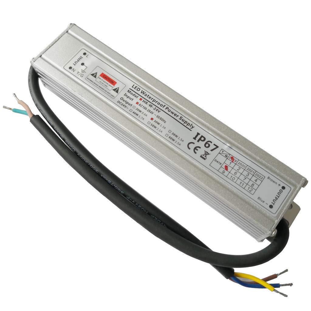 2-Paquet Adaptateur ultra-mince compact pour pilote LED basse tension /Étanche IP67 24V 2.5A 60W universel pour alimentation int/érieur//ext/érieur /à d/écoupage CA//CC YAYZA