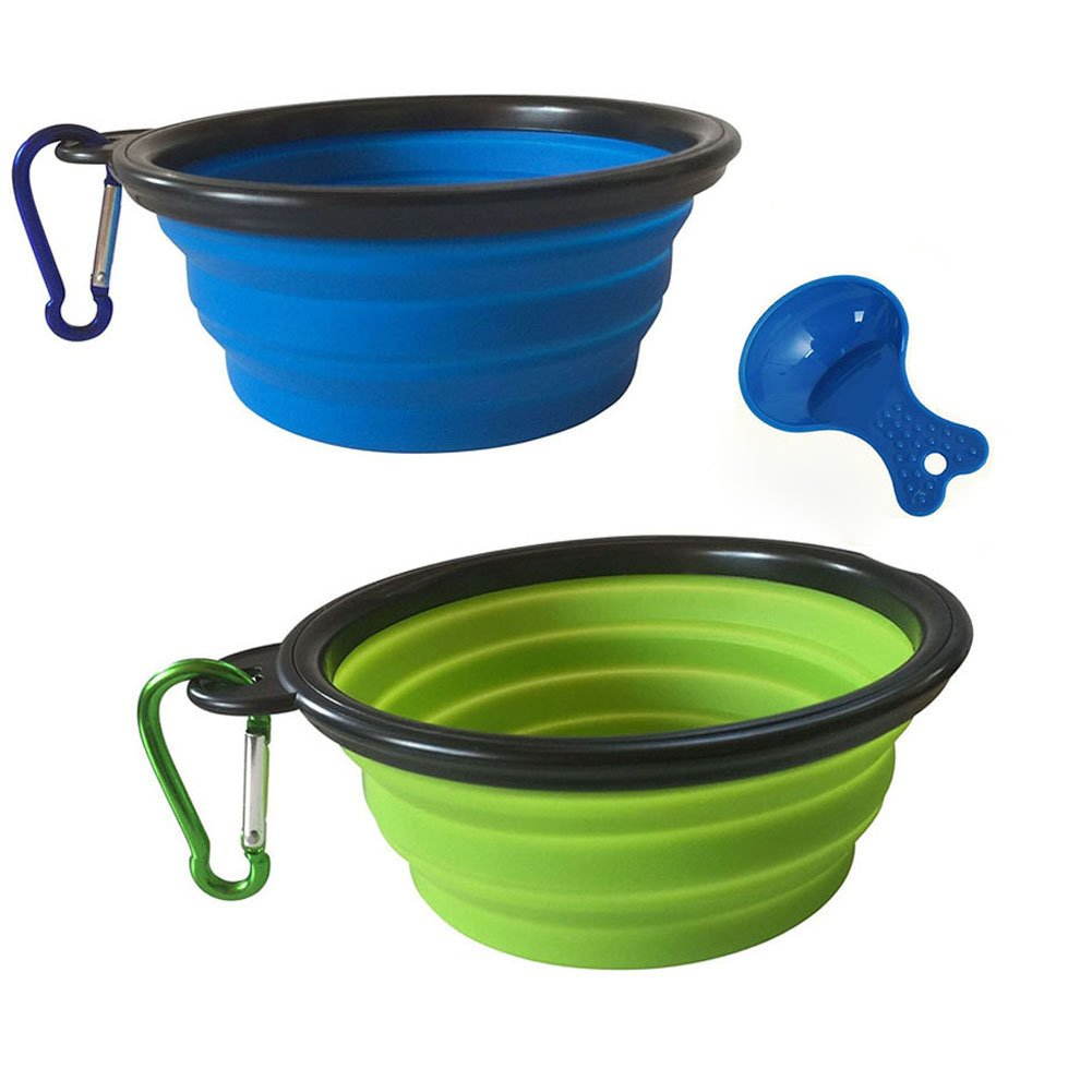 COCOKIKI Collapsible Dog Pet Bowls Dishes 2 Pack for Food Water, Foldable and Portable Travel Silicone Bowl Set with Carabiner Clip BPA Free (L, Blue-Green)