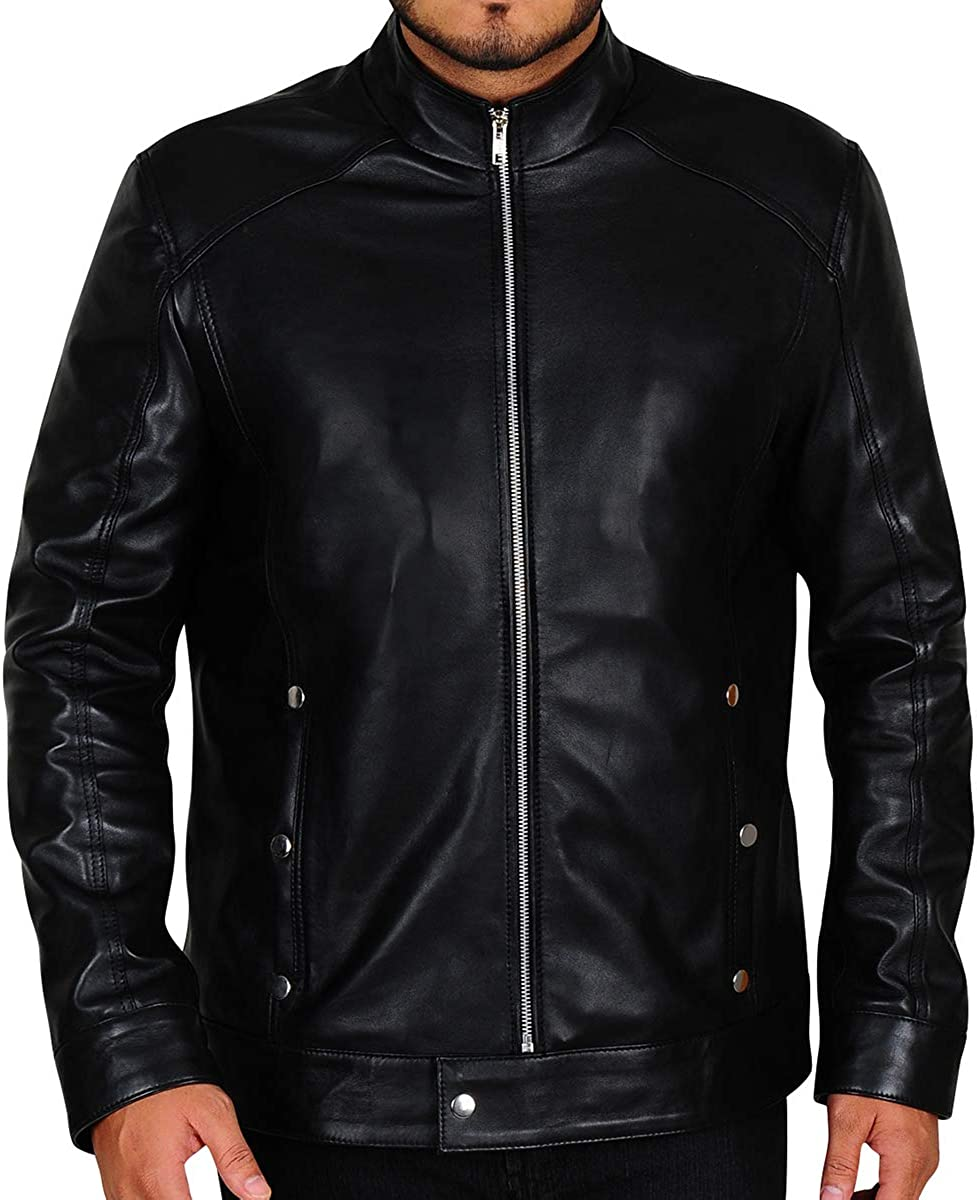 TrendHoop Mens Stylish Motorcycle Slim Fit Genuine Leather Black Outwear Jacket