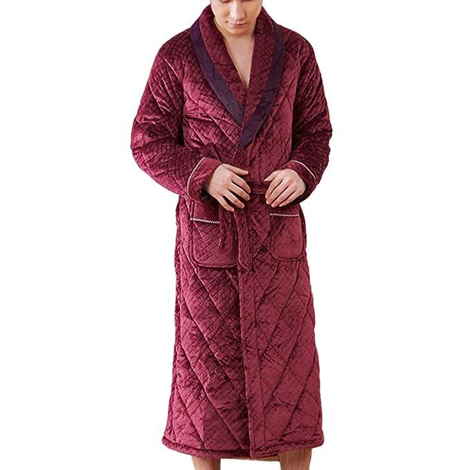 Home Loungewear Bata De Hombre Otoño Invierno Bata De Baño Grueso Manga Larga Cálida Ropa De Dormir: Amazon.es: Ropa y accesorios