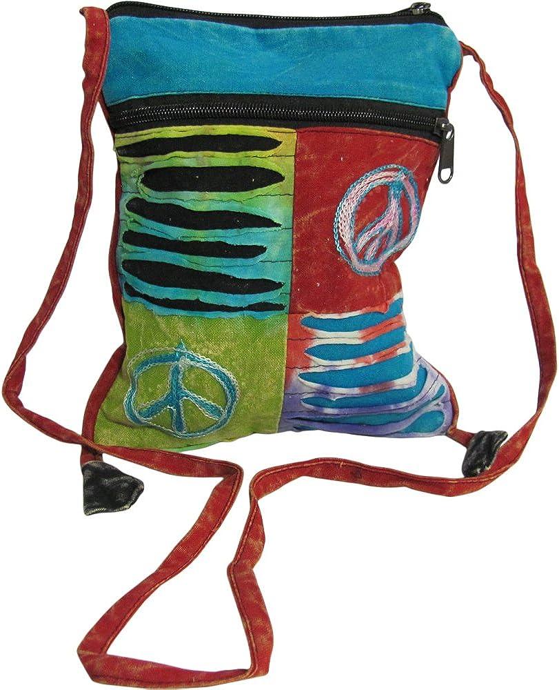 Peace Elephant Bag Fair Trade Cotton Cross Body Sling Ethnic Hippe Boho New Age