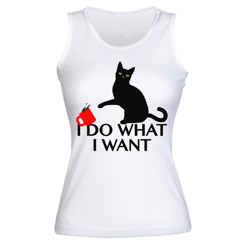 7b4f1f7308cd I Do What I Want Rebellious Cat Design Women's Tank Top Shirt