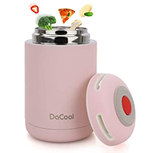 DaCool Insulated Lunch Containers Thermos Food Jar Vacuum Insulated Stainless Steel 16 oz Leak Proof Keep Food Cold Hot Food Container for Kids Adult Lunch Box School Camping Outdoors, BPA Free - Pink