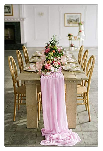 Soardream 2 Pieces Of Simplified Chiffon Table Runners Pink 27 X120 Romantic Runner For Chair Back Flower Wedding Chair Back Decoration