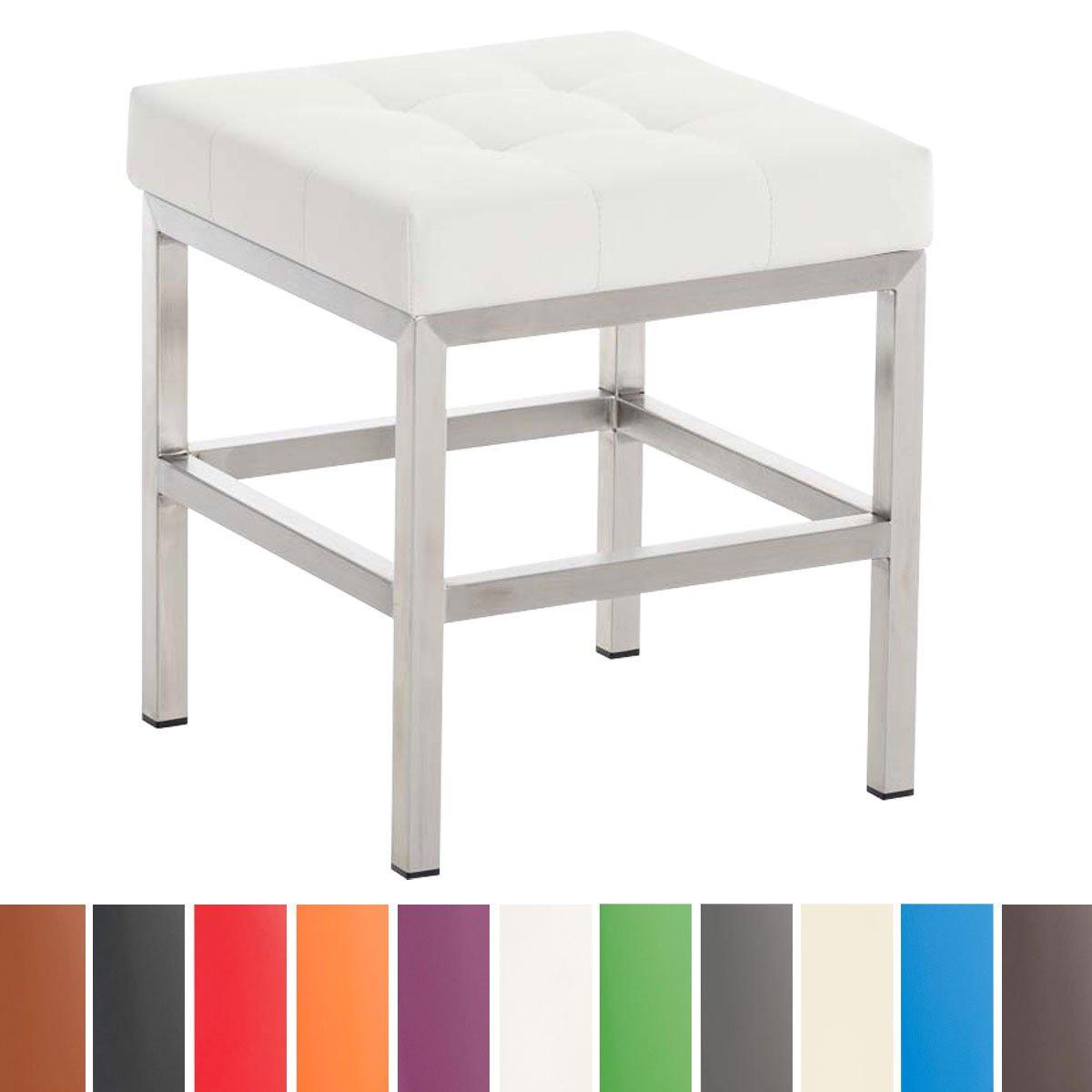 CLP Tabouret bas design ST.PAULI en similicuir - 4 pieds en métal - hauteur de l'assise en. 45 cm - rembourré blanc