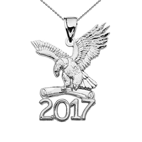 amazon sterling silver class of 2017 graduation eagle holding Star Trek Klingon Bird of Prey Ship amazon sterling silver class of 2017 graduation eagle holding diploma pendant necklace 16 jewelry