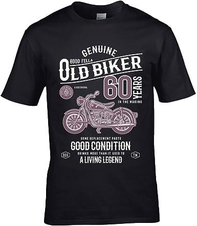 sticker licker Premium Divertido 60 Años Motero Clásico Moto Retro Motivo para 60 Cumpleaños de Hombre Camiseta Camiseta Top - Negro, X-Large 46/48