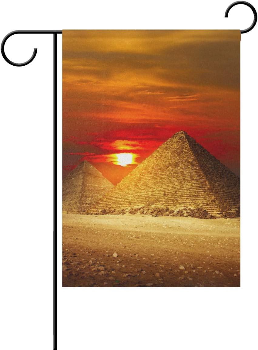 Jessgirl Vintage Yard Garden Flag Summer para Exterior Antiguo Egipto Sunset Pyramids 28x40Inch Bandera Decorativa de Doble Cara