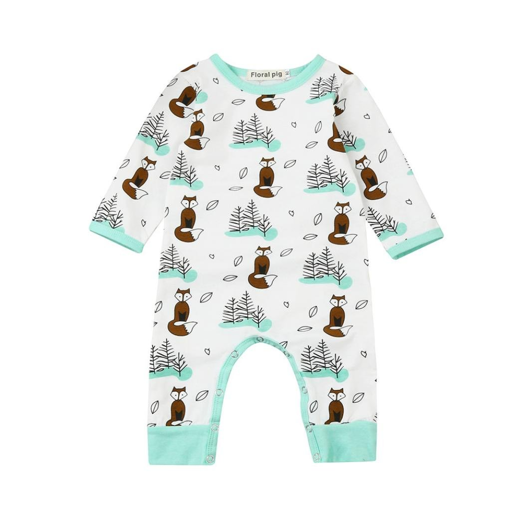 TIFIY Baby Clothes Outdoor Newborn Infant Baby Girl Boy Long Sleeve Cartoon Fox Trees Romper Tops Jumpsuit Outfits Clothes Autumn Winter Gift 70/80/90/100 Green