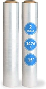 "Reli. 15"" Stretch Wrap, Pre-Stretched (2 Rolls, 1476 ft/roll) Clear Stretch Wrap for Moving/Pallet Wrap Stretch Film (Made in USA) Clear Shrink Wrap Plastic Film for Packaging/Moving (15 inch)"