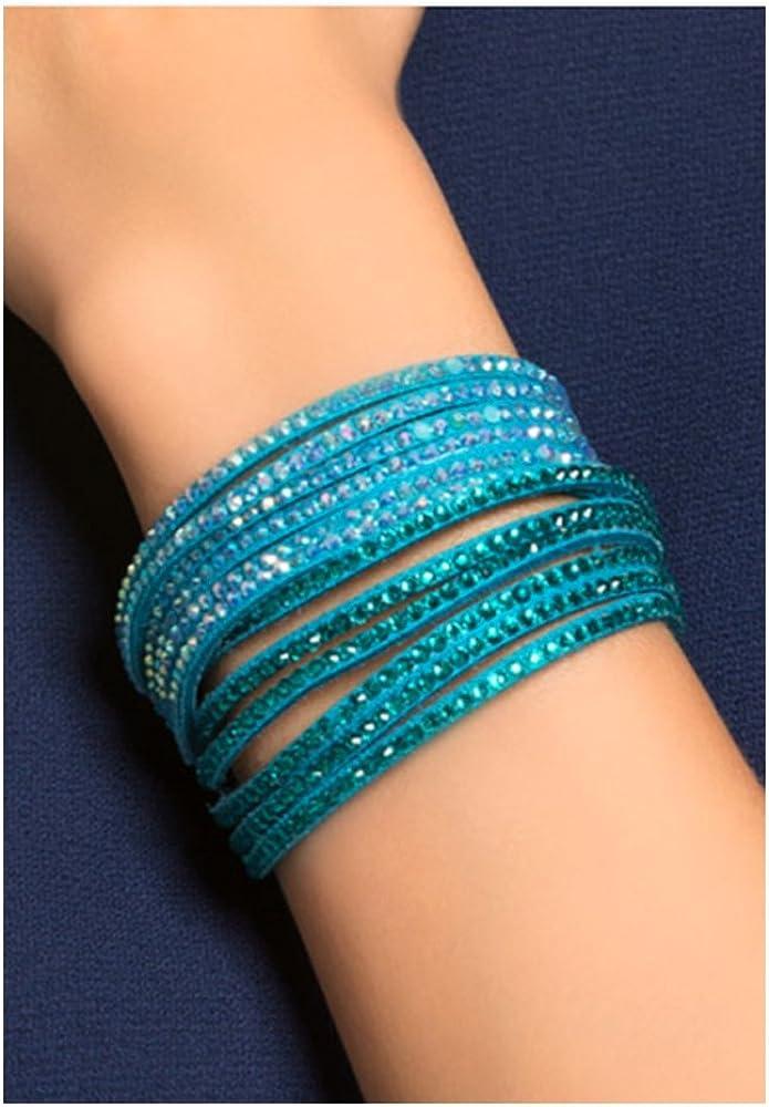 Blue Pearls Bracelet 3 Rangs Cristaux Bleus et Blancs de Swarovski ...