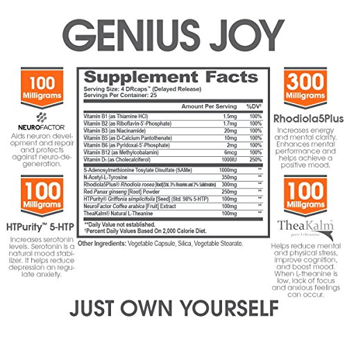 Genius-Joy-Serotonin-Mood-Booster-for-Anxiety-Relief-Wellness-and-Brain-Support-Nootropic-Dopamine-Stack-with-SAM-E-Panax-Ginseng-and-L-Theanine--Replace-Antidepressants-Naturally-100-VCaps