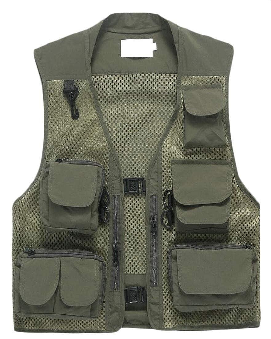 Keaac Men Mesh Fishing Vest Photography Multi-Pockets Outdoors Vest Jacket
