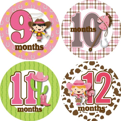 Ride 'Em Cowgirl Monthly Baby Bodysuit Stickers ()