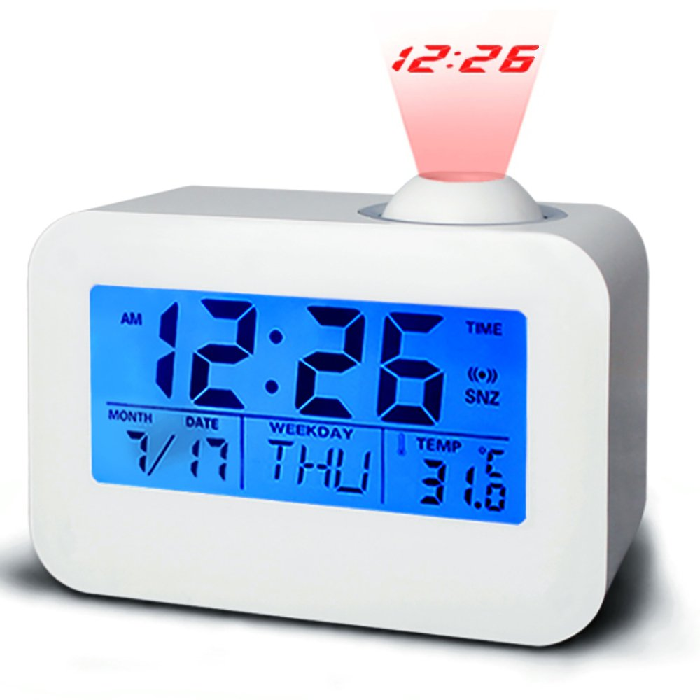 Projection Alarm Clock, Battery Operated Alarm Clock with Snooze for Bedrooms for Kids, LED Digital Clock Display Temperature Calendar, Voice Activated Easy Set