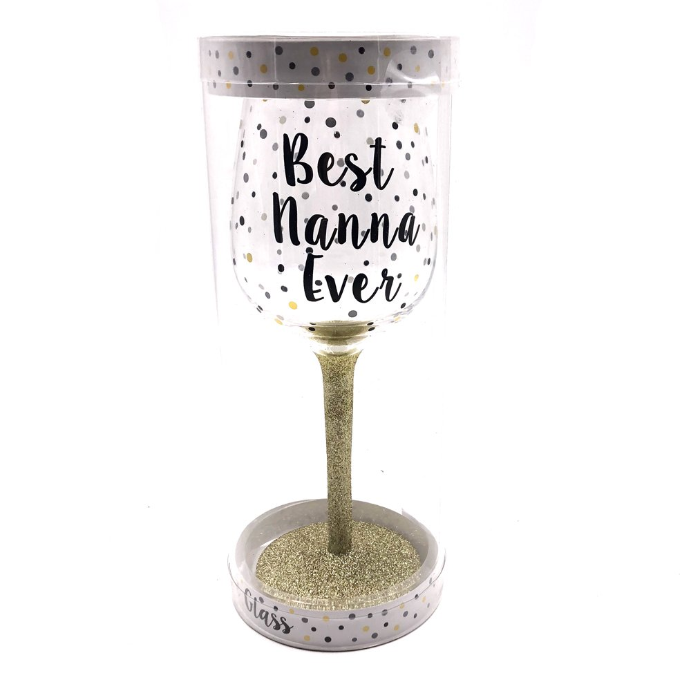 ukgiftstoreonline Best Nanna Ever Polka Dot Wine Glass In Gift Box