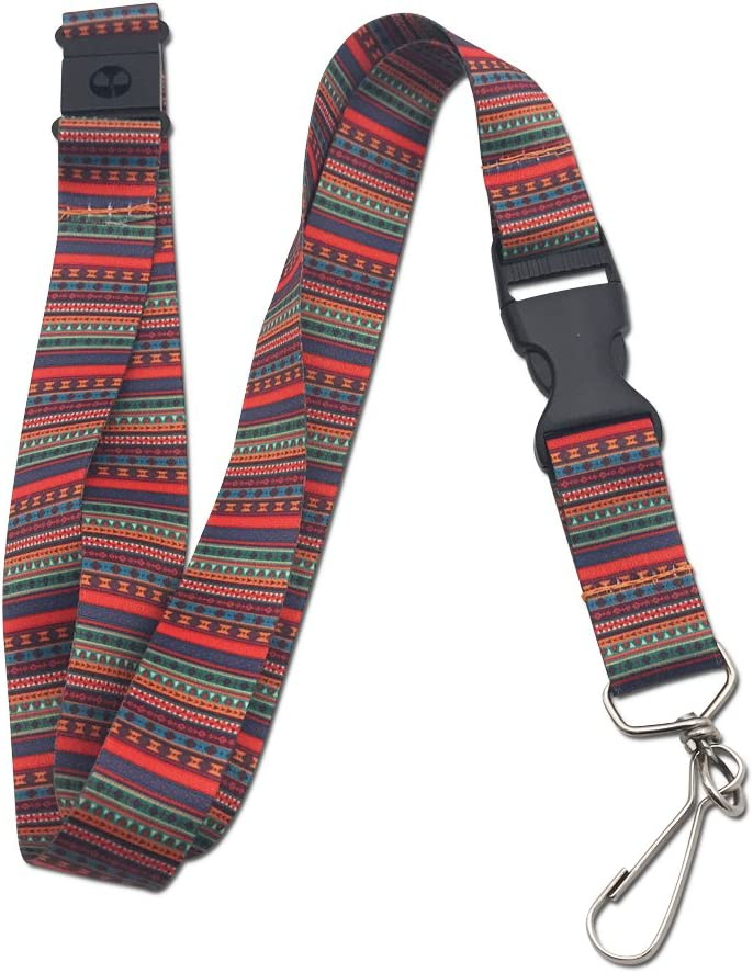 Colorful Tribal Premium Lanyard with Breakaway Clasp and Flat Ring by Limeloot
