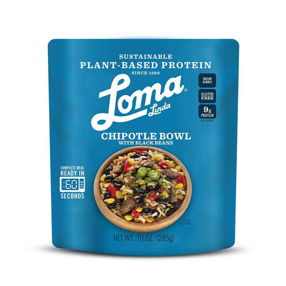 Loma Linda Vegan Chipotle Bowl with Black Beans Plant Based Protein 60 Second Microwavable Pouch 10oz 1 pack