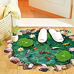 Ussore 1PC Fish Ponds Mural Ground Stickers Decal Room Home Decor For WC Home living room bedroom bathroom kitchen