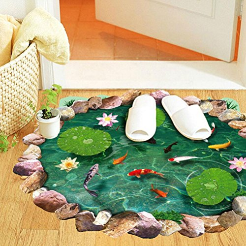 Ussore 1PC Fish Ponds Mural Ground Stickers Decal Room Home Decor For WC Home living room bedroom bathroom -