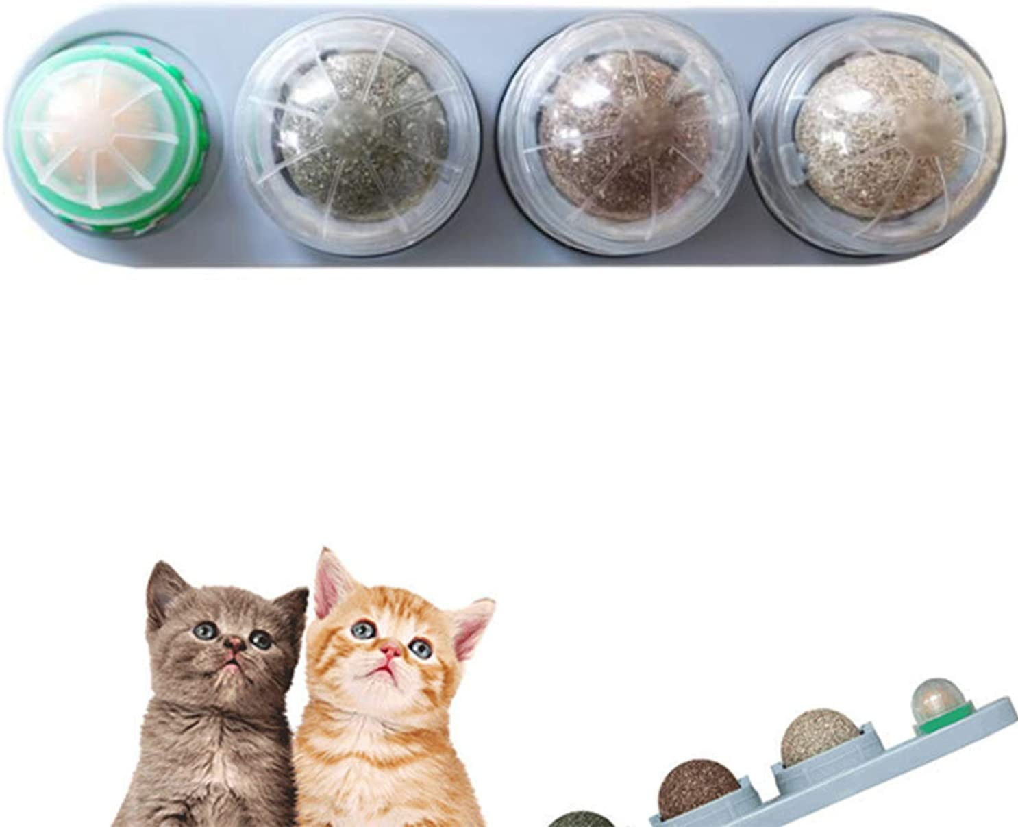 Bolas de Hierba Gatera Natural, Juguete Giratorio para Gato, Juguetes para Gatos 4 en 1 Juguetes de Hierba gatera comestibles autoadhesivos, Juguete esférico de Hierba gatera Segura