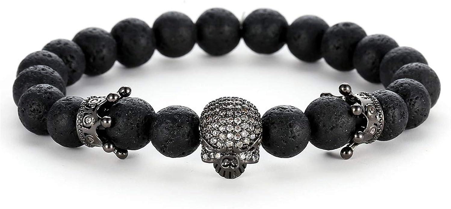 Punk Charme Stone King Crown Bracelet Hommes Femmes Matte Stone Bead Bracelets cadeau