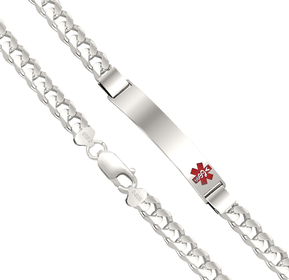 Customizable Men's 0.925 Silver Sterling 7mm Curb Medical ID Alert Bracelet, 8in by US Jewels And Gems