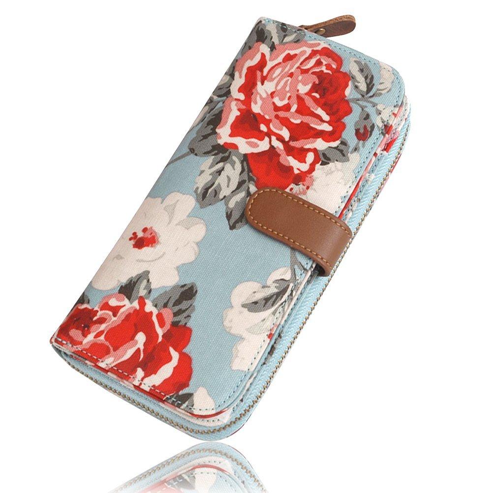 Ichic Boutique Womens Wallet Purse Clutch Card Holder Organizer Zipper Floral