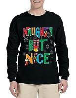 Allntrends Men's Long Sleeve Naughty But Nice Cute Xmas Shirt Humor Gift