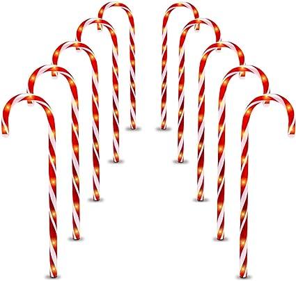 4 Light Up Candy Cane 52 ou 62 cm Garden Path Jeu Extérieur Décoration de Noël