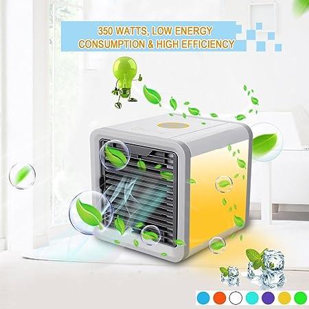 Enfriador de aire del espacio personal - Mini refrigerador, humidificador y purificador port¨¢tiles 3 en 1 con 7 ...